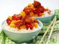 Ориз с пилешко месо, ананас и червени камби